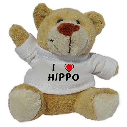 Teddy Bear Plush Keychain with I Love Hippo (first name/surname/nickname)
