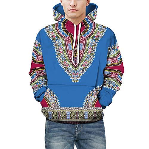 Riou Herren Langarm Hoodie Sweatshirt Slim fit Sweatjacke Kapuzenpullover Pullover T-Shirt Baumwoll Outwear Liebhaber Herbst Winter afrikanischen 3D Print Dashiki Top (3XL, Blau)