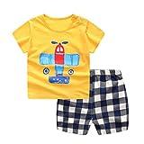 Jimmackey Neonato Unisex Camicia Stampa Aeroplano Cime T- Shirt + Plaid Pantaloncini Abiti Set (Giallo, 18 mesi)