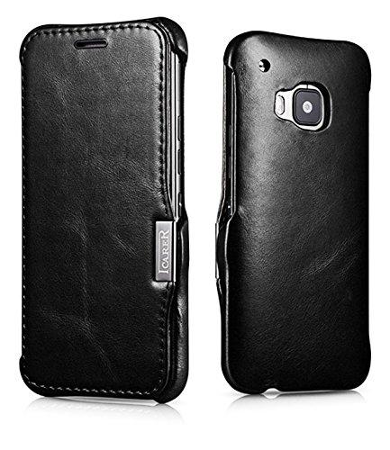 Luxus Tasche für HTC one M9 / Case Außenseite aus Echt-Leder / Innenseite aus Kunstleder / Modell: Luxury/ Schutz-Hülle seitlich aufklappbar / ultra-slim Cover / Vintage Erscheinungsbild / Farbe: Schwarz