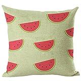 Nunubee Kreative Früchte Serie Wassermelone Muster Baumwolle Leinen Dekor Kissenbezüge Kissenbezug Kissenhülle, Stil 2