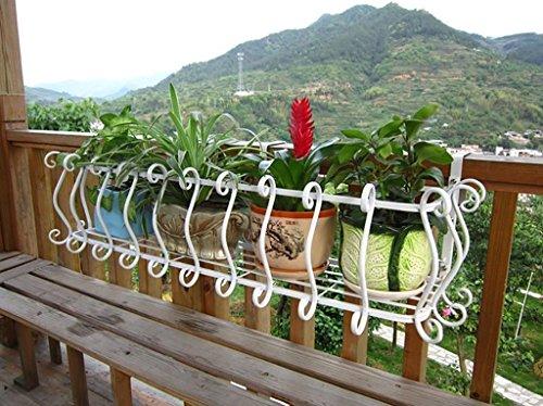 Grüne Blume Regal suspendiert Art Blumentopf Inhaber Eisen Balkone Sukkulenten Blumentopf Regal ( Farbe : Weiß , größe : 120*28*20cm )