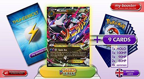 Karten Ex Pokemon Latios (MEGA LATIOS EX 59/108 220HP XY06 ROARING SKIES - Booster verbessert Thunderbolt mit 10 Englische Karten Pokemon)