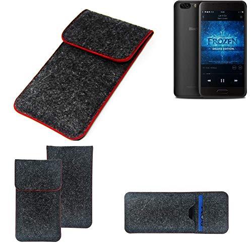 K-S-Trade® Filz Schutz Hülle Für -Blackview P6- Schutzhülle Filztasche Pouch Tasche Case Sleeve Handyhülle Filzhülle Dunkelgrau Roter Rand