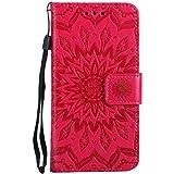 Coque iPhone 7/8, The Grafu Magnétique à Rabat PU en Cuir Coque, Soleil Fleur Imprimé Support Housse avec Carte de Crédit Slot pour Apple iPhone 7 iPhone 8, Rouge