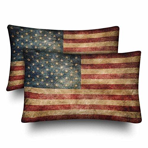 InterestPrint Vintage Retro Amerikanische Flagge USA Flagge Patriotische Kissenbezüge Standard Größe 20x30 Set von 2 rechteckigen Kissenbezügen Schutz für Home Couch Sofa Bettwäsche Deko