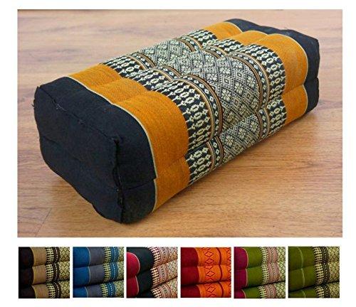 Festes Stützkissen für Yoga (Asanas), LivAsia® Blockkissen bzw. Yogakissen als Hilfe, Würfel aus Kapok (schwarz / orange)