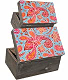 Set von zwei ab Look Scharnier Holz Vintage Boxen mit Faded Indian Style Paisley Print in Rot und Blau