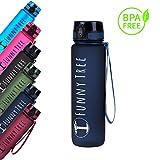 Funny Tree® Trinkflasche aus Tritan. 1000ml Midnight Blue. BPA frei und auslaufsicher! Ideal im Gym, beim Fitness und Wellness, oder auf All deinen Reisen sowie Outdoor Aktivitäten.