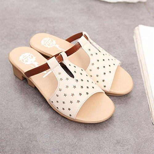Malloom® Sandalen, Frauen Sommer Kunstleder Sandalen Mode Solid Beach Slides Hausschuhe Damen Schuhe Beige-3