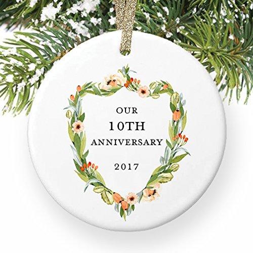 nke Tenth 10Jahre zusammen Paar Mann & Frau Love rund Christmas Ornament Andenken Xmas Tree Dekoration Hochzeit Jahrestag Geschenk Weihnachtsbaum Geschenk Idee ()