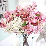 Longra Wohnaccessoires & Deko Künstliche Blumen Kunstpflanze 1PCS künstliche Blatt Kirschblüten Blumen Hochzeit Bouquet Party Dekoration Kunstblumen (B)