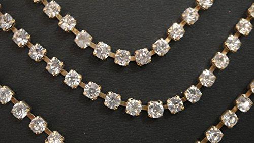 Strassbesatz Strasskette Golden Trim Base Brautkleid Crystal Ribbon 3mm Preis für 1 Yard-RH20