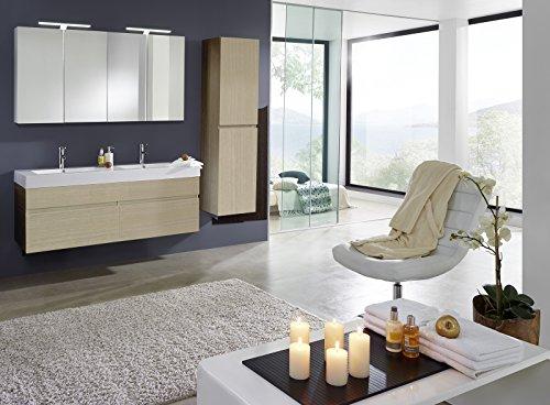 Bad11® - Badmöbelset PROMETHEUS Deluxe - 3 teilig Farbton Sonomaeiche matt Holzoptik mit Doppelwaschbecken und 2 x Spiegelschrank und Hochschrank Farbauswahl