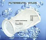 Filterstrumpf Nylonfilter, Filterbeutel, 100 Micron, feiner als ein Trommelfilter, stabiler als ein Damenstrumpf, filtert Schwebepartikel + Algen aus dem Teich, kurze Ausführung, 42cm lang, Ø 18cm