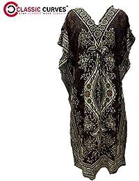 CLASSIC CURVES Women Kaftan Dress Beach Cover up Ladies Fashion Kaftan Boho Beachwear Swimwear Coverup Holiday Dress Brown