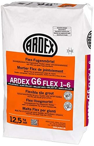 ARDEX G6 Flex-Fugenmörtel 1-6 mm 12,5 kg - brilliantweiss - für schmale Fugen mit feinster Oberfäche. Im Innen- und Außenbereich, an Wand und Boden.