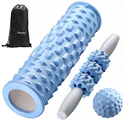 Finether 3 en 1 Rouleau de Massage en Mousse, Bâton De Massage, Balle Picots, pour Débutants, Massage Pilates Yoga Exercise Fitness Gym Débutants Physiothérapie du Dos Matériel ABS EVA, Bleu