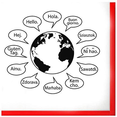 Wandaufkleber Hallo text wandaufkleber in vielen sprachen weltkarte wörter wohnkultur für wohnzimmer café vinyl logo zeichen 74x85 cm (Sprachen Weltkarte)