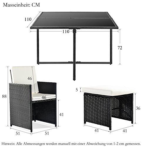 Merax Poly Rattan Lounge Gartenmöbel Set Sitzgruppe klappbare Essgruppe11/9 PCs (9 PCs, Schwarz) Bild 3*