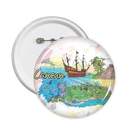 City Cancun Mexiko Insel Maya-Tempel Watercolor rund Pins Badge Button Kleidung Dekoration Geschenk 5X Größe S