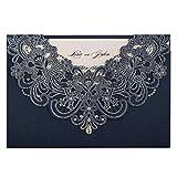 Wishmade 50 Stücke Blau Hochzeit Einladungen Karten Sets Spitze Lasercut Mit Rhinestone Hohlen geprägte Flora Pearl Papier Einladung Cardstock Für Bridal Shower (Satz von 50pcs)