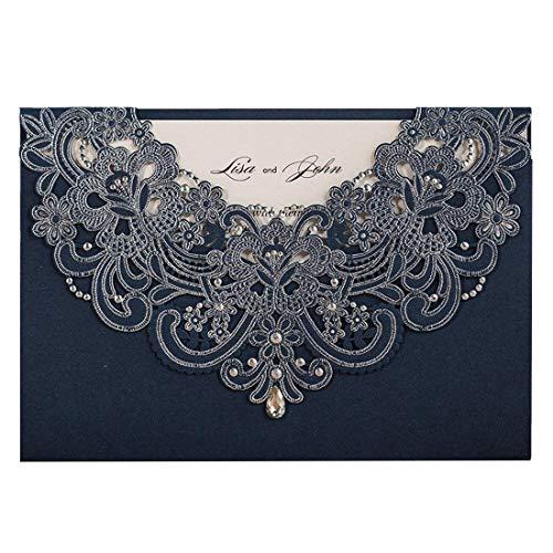 (Wishmade 50 Stücke Blau Hochzeit Einladungen Karten Sets Spitze Lasercut Mit Rhinestone Hohlen geprägte Flora Pearl Papier Einladung Cardstock Für Bridal Shower (Satz von 50pcs))