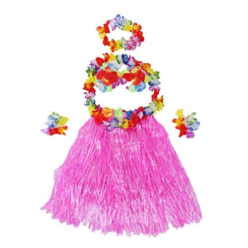 REFURBISHHOUSE Hawaiian Tropisch Hula Luau Grass Tanzen Rock und BH-Set - Rosa