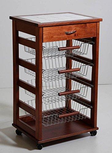 Carrello portafrutta vesuvio noce con cassetto mattonelle deco legno massello cassetti 380052
