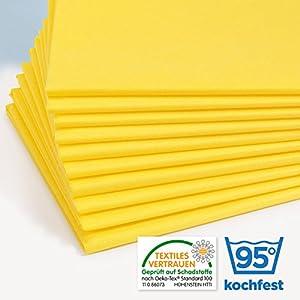 Original Dr. Güstel Waschfaserlaken PLUS gelb 120x240cm, 400-mal waschbar (5 Stück) STANDARD 100 by OEKO-TEX® zertifiziert, Dr. Güstel Auflagen für Behandlungsliegen, Therapieliegen, Massageliegen
