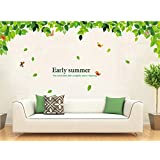 StylishWalls 'Butterfly Garden Wall Stickers For Bedroom And Living Room' With Green Leaves And Chirping Birds To Refresh Every Breath You Take Around It In The 'Lap Of Nature' Crafted For Home,Office Or Restaurant Decoration (180 Cm * 80 Cm Finished Size