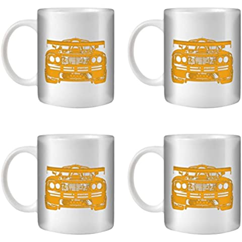 STUFF4 Taza de Café/Té 350ml/4 Pack Naranja/F1 GTR/Cerámica Blanca/ST10