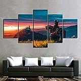 Canvas 5 Panel Moderne Witcher 3 Wild Hunt Spiel Bilder der Leinwanddrucke Wandkunst Gemälde Artwork Home Decor Bild Für Jungen Zimmer,A,30×50×2+30×70×2+30×80×1