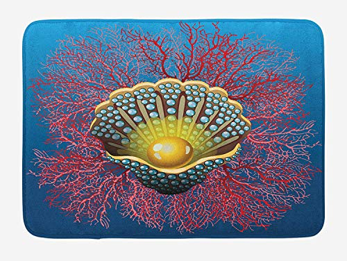 Pearls Bath Mat, Giant Majestic Unique Pearl Mussel and Ivy Coral Deep Down in The Sea Art Print, Plush Bathroom Decor Mat with Non Slip Backing, 23.6 W X 15.7 W Inches, Blue Red Golden -