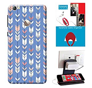 KanvasCases Printed Back Cover For Letv Le 1s + Earphone Cable Organizer + Mobile Charging Holder/Stand