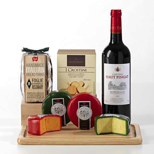 Hay Hampers Bordeaux Red Wine, Crackers and Cheeses with Cheeseboard Gift Set - FREE UK Delivery