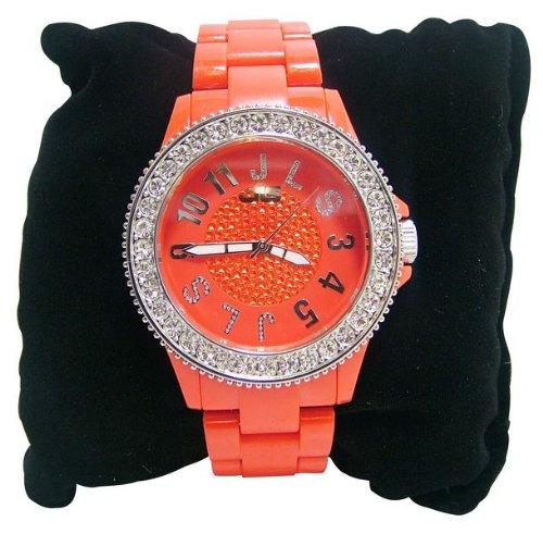 JLS Unisex Ortise Firma del bracciale orologio in plastica rossa (9277054)