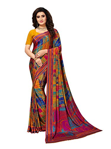 Kanchnar Women's Multi Color Crepe Printed Saree-758S151
