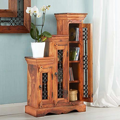 VERTY FURNITURE Jali Indian Sheesham Step CD Cabinet