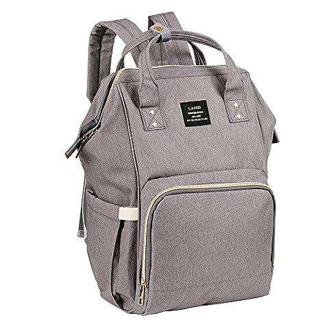 Windel-Rucksack, große Kapazitäts-Mama-Reise-Windel-Tote-Handtasche Krankenpflege-Schulter-Organisator-Beutel mit isolierten Taschen Spaziergänger-Bügel für Baby-Sorgfalt (Grau)