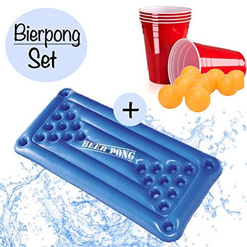 XXL Beer Pong Bier Pong Set|aufblasbare hochwertige Bierpong Luftmatratze inkl. 24x rote Partybecher u. 5x Bälle |aufblasbarer schwimmender Beerpong Tisch|Pool Pong Matraze Red Cups Party Trinkspiel -