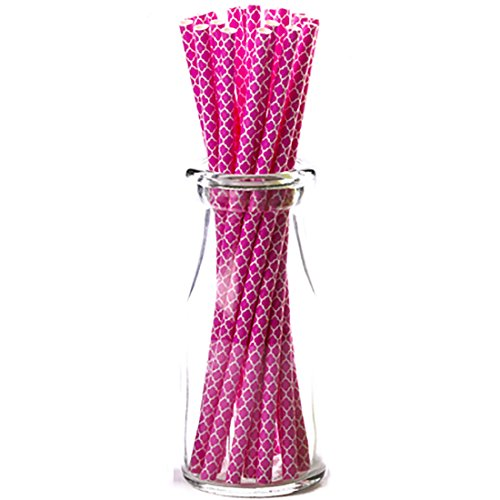 Simply Baked Paper Straw, Fuchsia Quadrafoil, 8-Inch, 25-Pack, Colorful, Disposable, and Compostable Reynolds Baking Cups