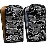 Samsung Galaxy S3 mini Tasche Hülle Flip Case Pixel Camouflage Tarnmuster