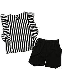 SMARTLADY Niña Ropa Blusa de rayas Tops y Pantalones cortos