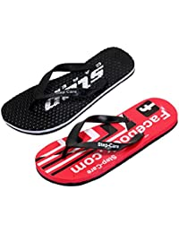 IndiWeaves Men's Soft Rubber Flip-Flops And House Slippers Hawaii Flip-Flops Hawaii Slippers -Combo 2 Pair
