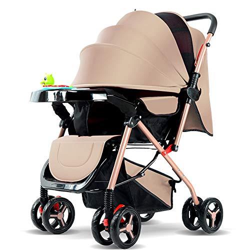 IJZN Beigefarbener, Hochwertiger Kinderwagen, Beidseitig Verstellbare, Tragbare Faltung, Lycra-Stoff