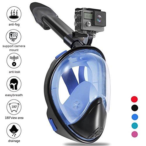 Zenoplige Mask Schnorchel mit einem visuellen bis 180 Grad, eine Schraube für die Unterstützung von Zenoplige-Kamera-Aktion oder Go Pro ähnliche, Proof of Loss, Anti-Fog, Maske Tauchen in Farbe Schwarz / Blau S /