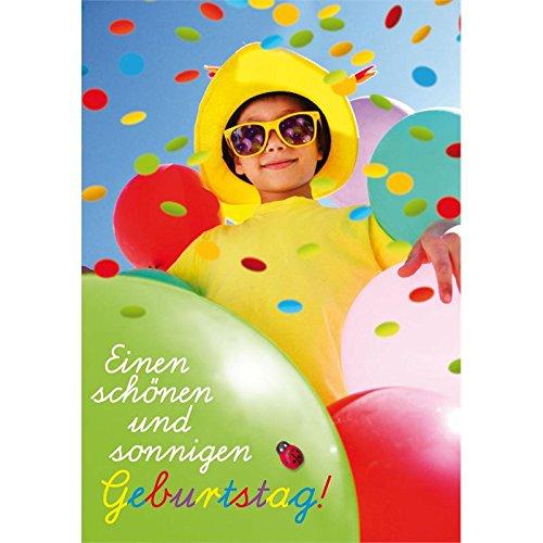 Mädchen mit Sonnenbrille mit großen bunten Luftballons