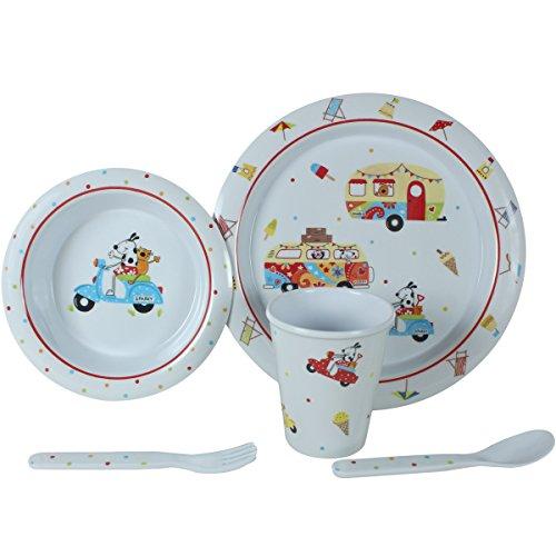Camping Geschirr aus Melamin 5-teilig für Kinder, Tafelservice Spülmaschinenfest für Picknick, Kratzfest und Bruchsicher, Geschirrset im kinderfreundlichem Design, Kindergeschirr mit Kinderbesteck