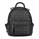 OBC Damen Nieten Rucksack Tasche Cityrucksack Stadtrucksack Metallic Backpack Schultertasche Handtasche Leder Optik Shopper Daypack (Schwarz 23x25x12 cm)